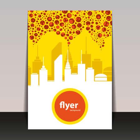 Flyer or Cover Design - Cityscape Silhouette Vector