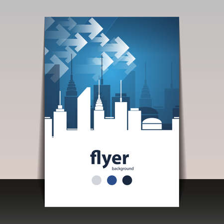 Flyer or Cover Design - Cityscape Silhouette Vector