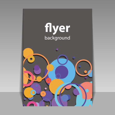 Flyer or Cover Design with Colorful Abstract Pattern - Dots, Rings, Bubbles Vector