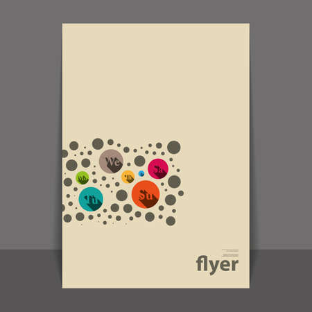 Flyer or Cover Design with Colorful Abstract Pattern - Circles and Bubbles  Vector