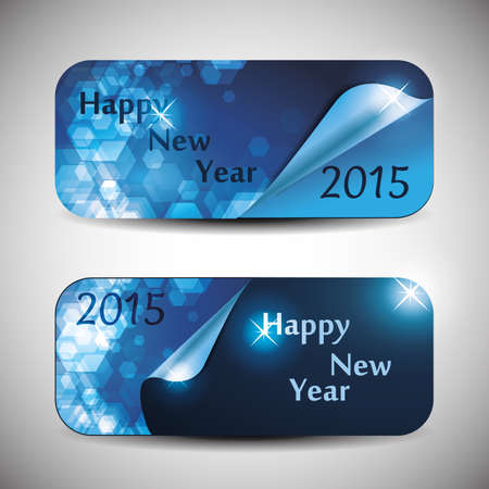 Set of Horizontal Christmas, New Year Banners - 2015 Vector