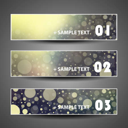 bubbly: Colorful Bubbly Vector Set of Three Header Designs