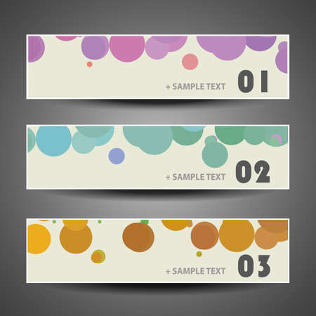 graphic backgrounds: Colorful Vector Set of Three Header Designs with Dots and Circles