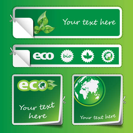 Collection of Eco Labels and Stickers Vector