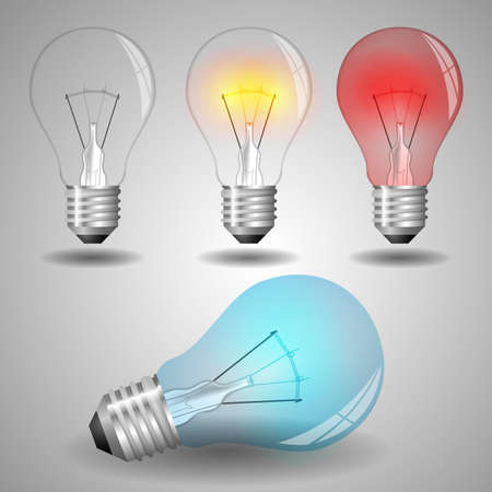 Set of Colorful Light Bulb Illustrations Vector