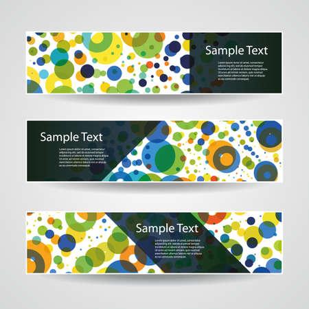 three dots: Colorful Vector Set of Three Header Designs with Dots, Circles, Rings