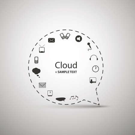 dashed: Cloud Computing Concept Design Illustration