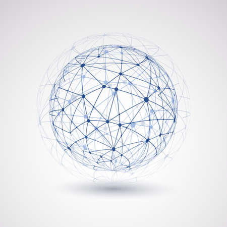 wire globe: Networks - Globe Design Illustration