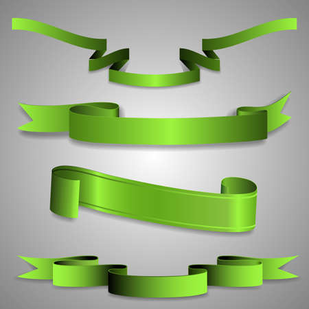 Set of Green Ribbon Designs Vector