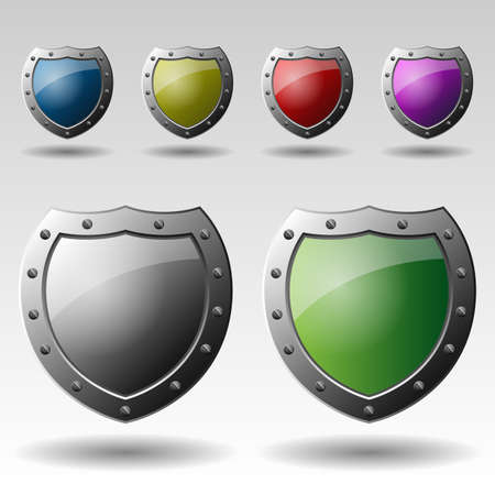 blue shield: Set of Colorful Metallic Shields Illustrations