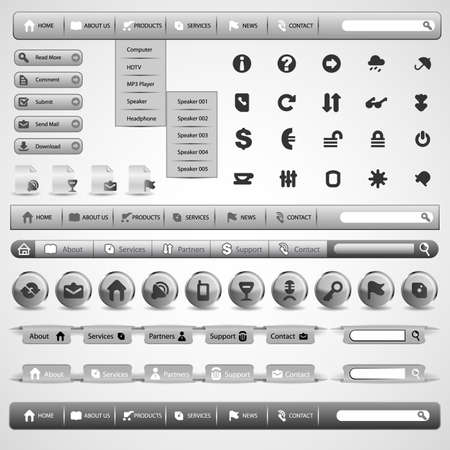 search button: Collection Of Grey Modern Styled Website Design Elements Illustration