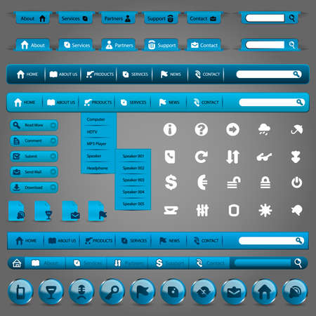 submenu: Collection Of Blue Modern Styled Website Design Elements Illustration