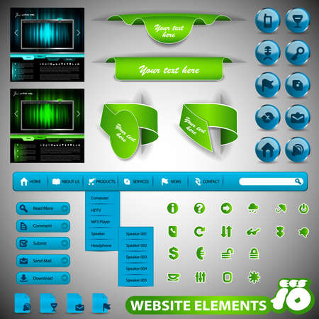 submenu: Collection Of Website Elements Illustration