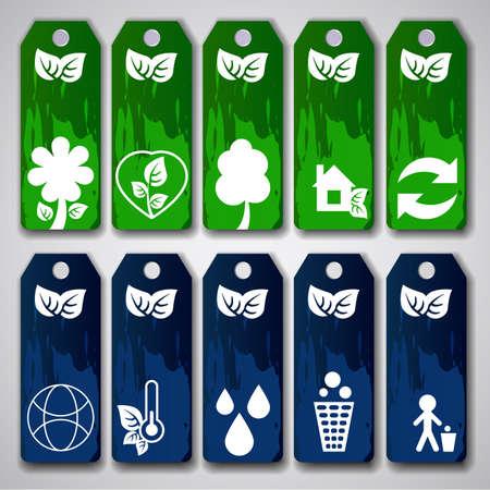 environmentally: Set of Green and Blue Sales Tags