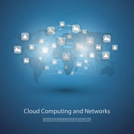 Networks Cloud Computing Template Design Vector