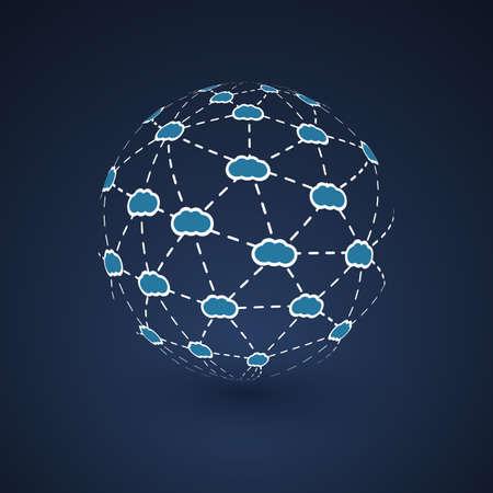 Networks Cloud Computing in Globe Design Vector