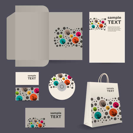 Stationery Template, Corporate Image Design with Colorful Dotted Pattern Vector