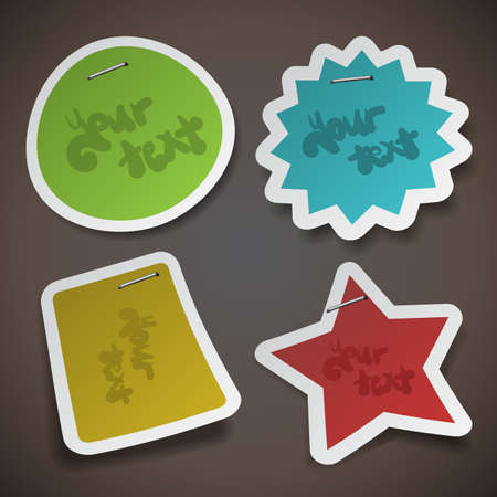 stapled: Vector Paper Cut Stickers Template