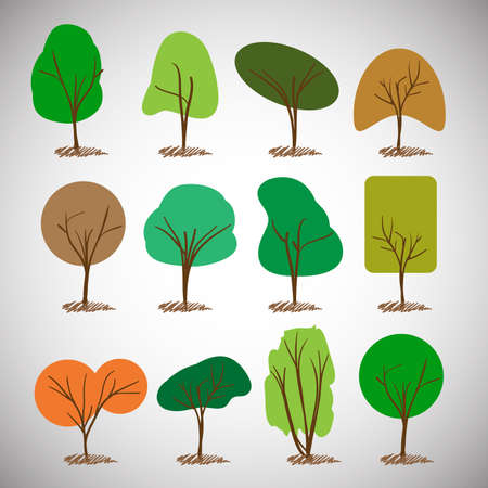 Abstract Tree Silhouettes Collection Clipart Vector