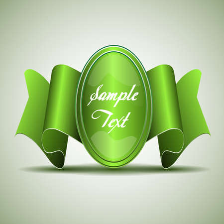 Badge Template with Green Ribbon Vector