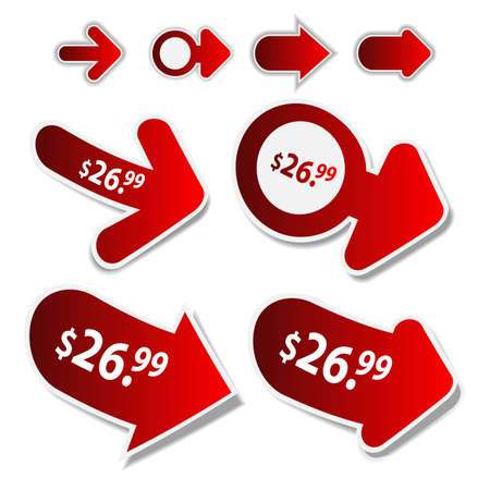 3 point perspective: Set of 3D Price Tag Arrows Clip-Art