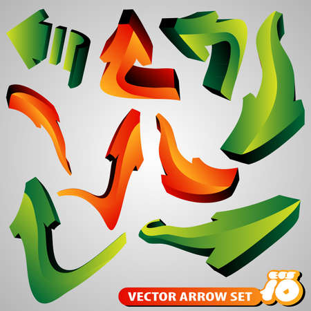 Set of 3D Arrow Signs Vector