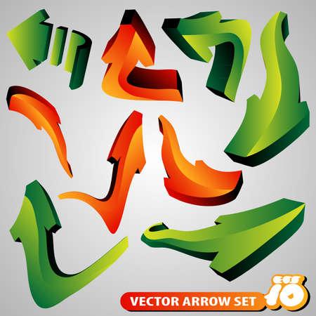 Set of 3D Arrow Signs Vector