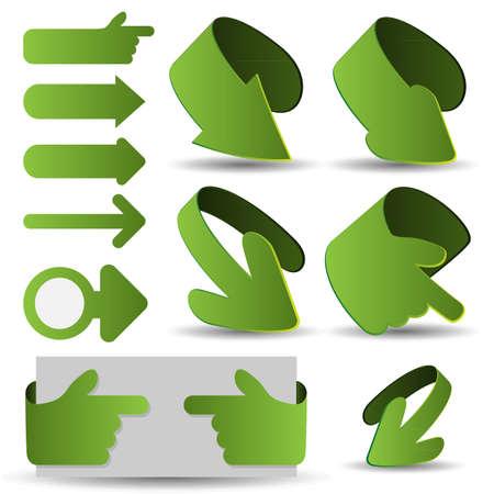 downwards: Set of Green 3D Paper Cut Arrow Illustrations Clip-Art