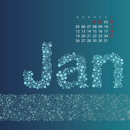 Abstract Dotted Monthly Calendar Design Template in Seasonal Colors - January 2015 Vector