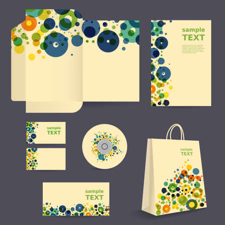 label tag: Stationery Template, Corporate Image Design with Colorful Pattern - Dots, Rings, Bubbles Illustration
