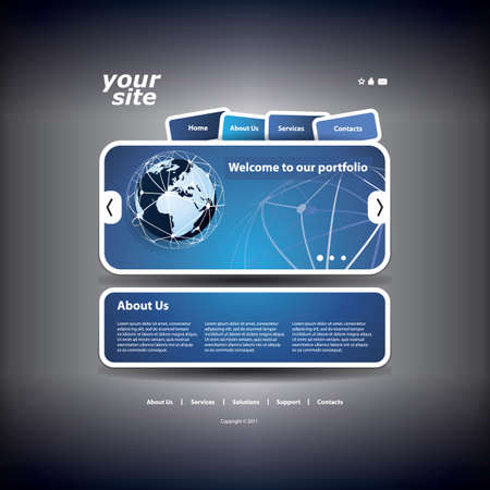 Business Website Template with Network Concept Design Vector