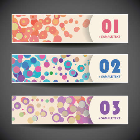 Colorful Vector Set of Three Header Designs with Dots and Circles Vector