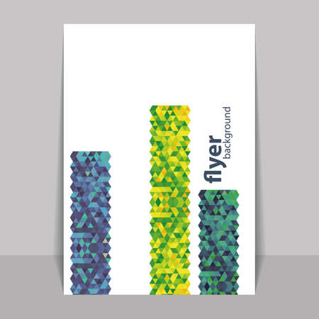 vertical bars: Flyer or Cover Design with Triangles Mosaic Pattern - Blue, Yellow and Green
