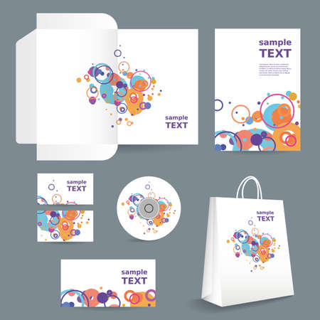 imagen corporativa: Papeler�a plantilla, dise�o de imagen corporativa con el patr�n de colores - Dots, Anillos, Burbujas