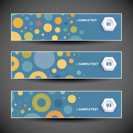 hexagonal shaped: Colorful Set of Three Header Designs with Dots and Circles