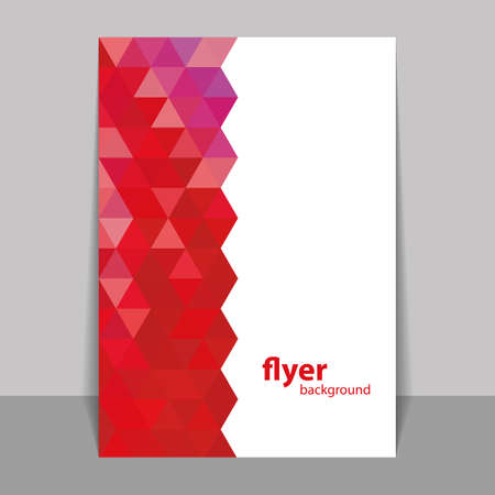 Flyer or Cover Design with Triangle Mosaic Pattern - Red Vector