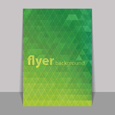 transient: Flyer or Cover Design with Triangles Mosaic Pattern - Green and Yellow