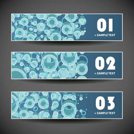 three dots: Colorful Set of Three Header Designs with Dots and Circles