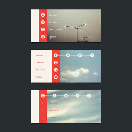 submenu: Web Design Elements: Minimal Header Design with Blurred Background and Icons Illustration