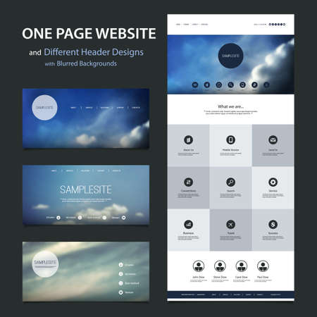 website: One Page Website Template and Different Header Designs with Blurred Backgrounds