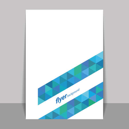 presentation folder: Flyer or Cover Design with Triangle Mosaic Pattern - Blue and Green Illustration