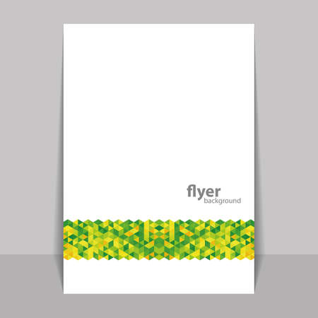 Flyer or Cover Design with Triangle Mosaic Pattern - Green and Yellow Vector