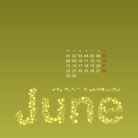 Abstract Dotted Monthly Calendar Design Template in Seasonal Colors - June 2015 Vector