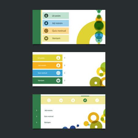 submenu: Web Design Elements: Minimal Header Design with Icons Illustration