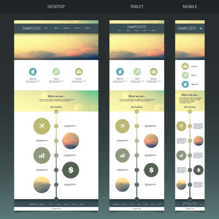 One Page Website Template with Blurred Background Vector