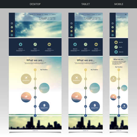 One Page Website Template with Blurred Background