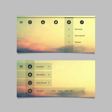 submenu: Web Design Elements - Minimal Header Designs with Blurred Background and Icons