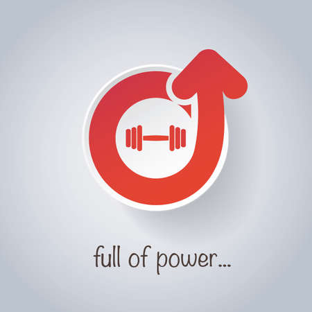 heaviness: Full of Power - Weight, Dumbbell Icon Design Illustration