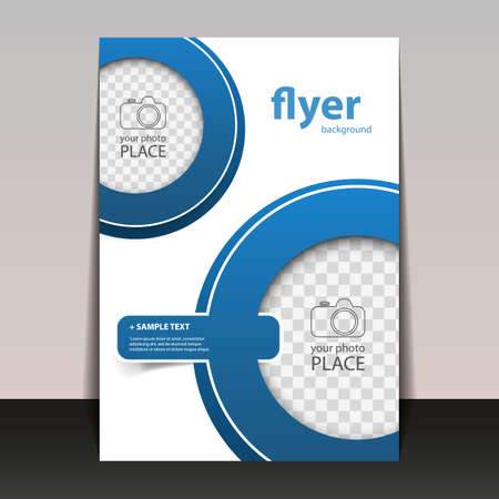 Business Corporate Flyer Template with Circles Pattern and Place for Your Image Vector