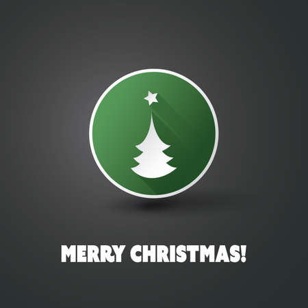 Flat Icon Design with Shadow - Christmas Tree with Star Vector